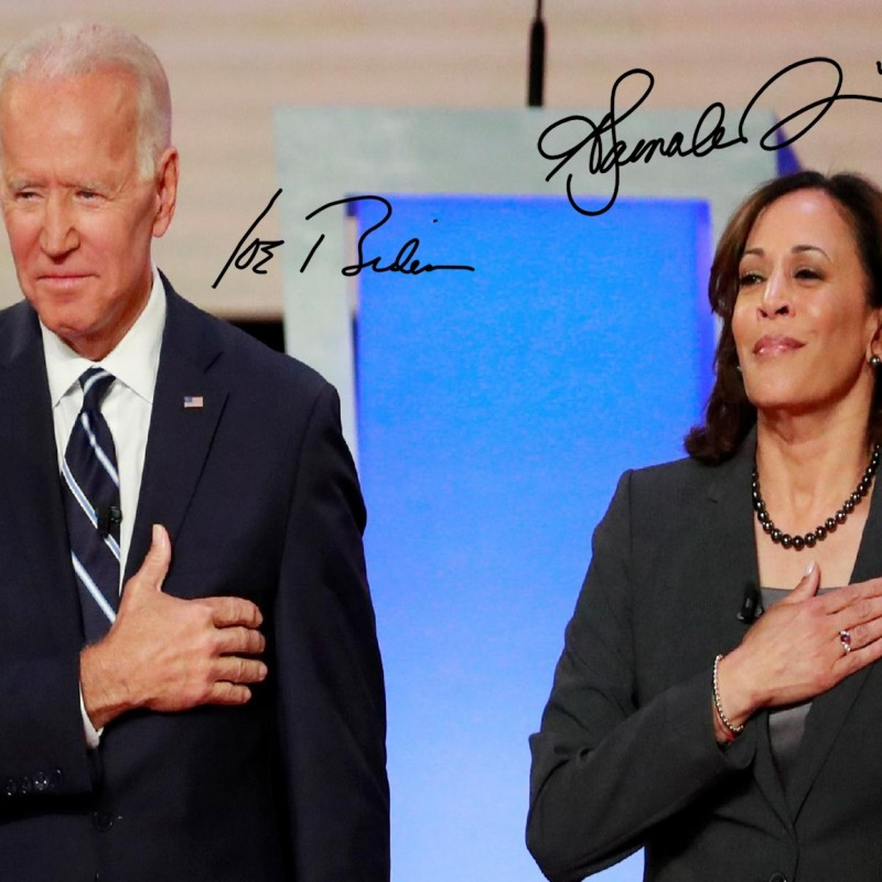 Joe Biden and Kamala Harris Photo with Digital Signatures
