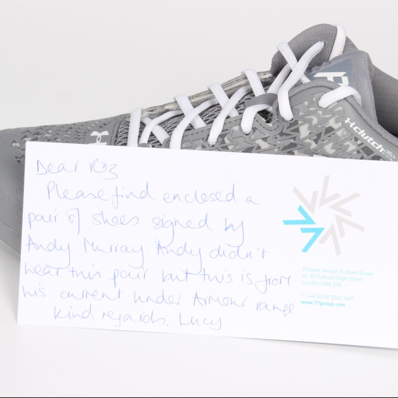 Under Armour Tennis Shoes Signed by the Wimbledon Champion Andy Murray