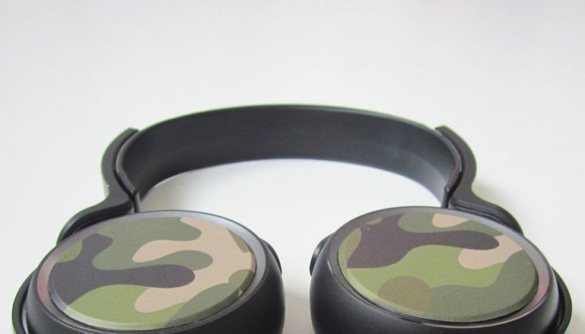 Headphones worn and signed by Nicola Savino with custom graphics by FixYourBike