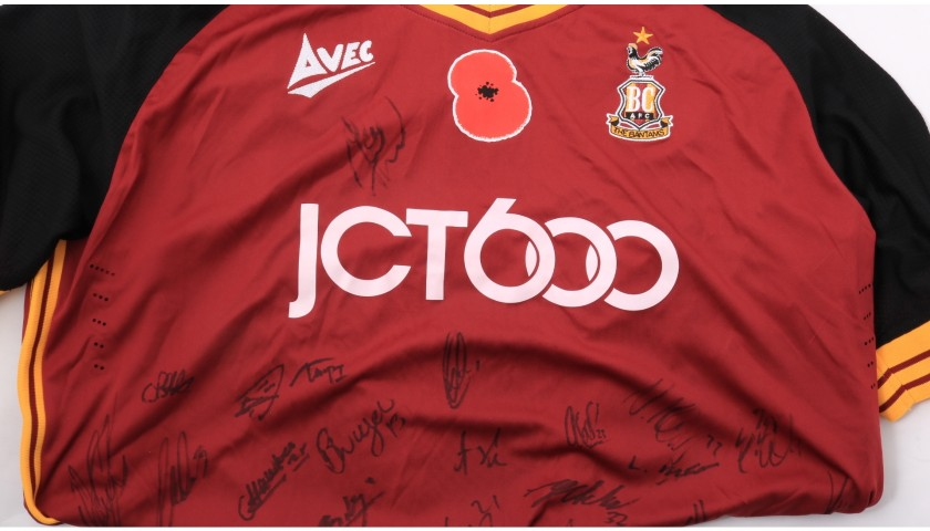 Bradford City Official Poppy Shirt Signed by the Team