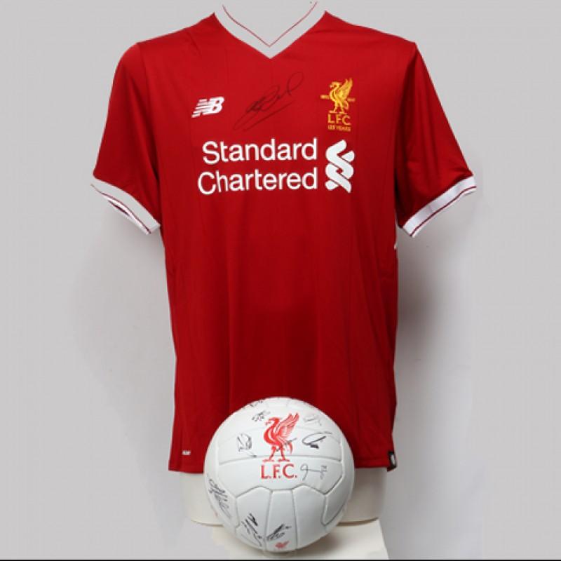 Steven Gerrard Signed 2017/2018 Liverpool FC Shirt and Football