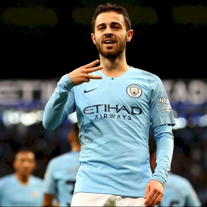 Bernardo's Manchester City Match White Shorts, Premier League 2018/19