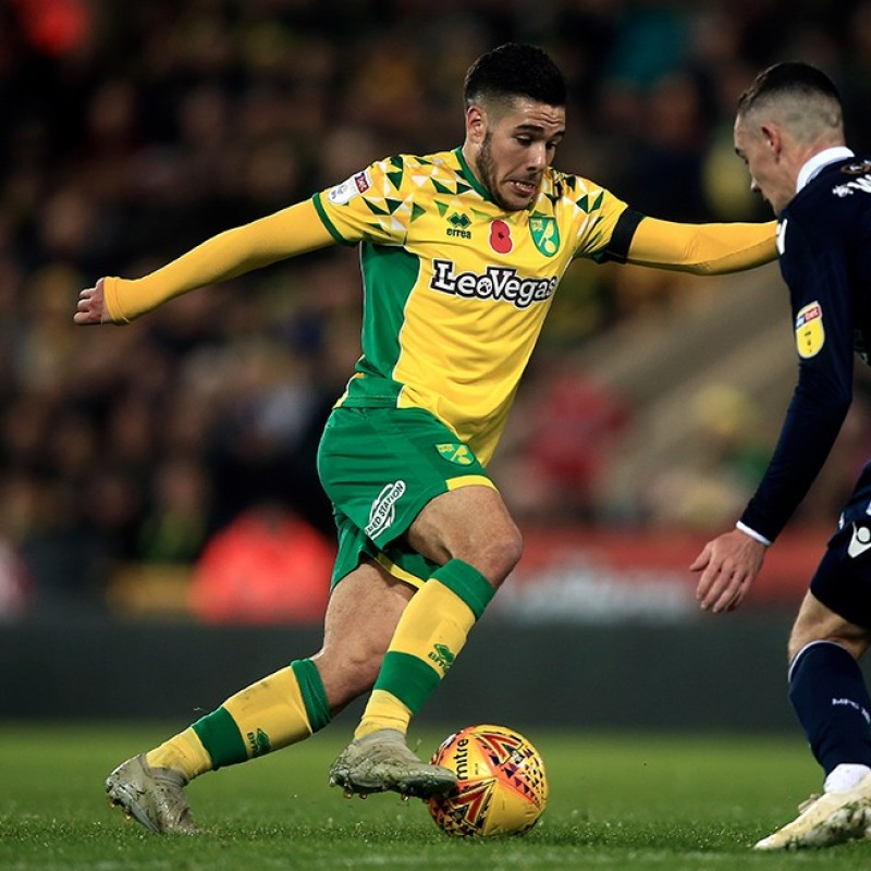 Buendia's Norwich Poppy Match Shirt - Signed
