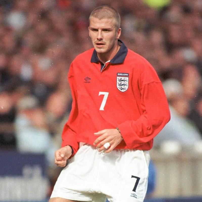 Beckham's Worn Match Shirt, England-Brazil 2000