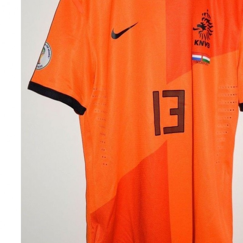 De Vrij shirt, issued for Netherlands-Hungary, Mundial '14 qualifications