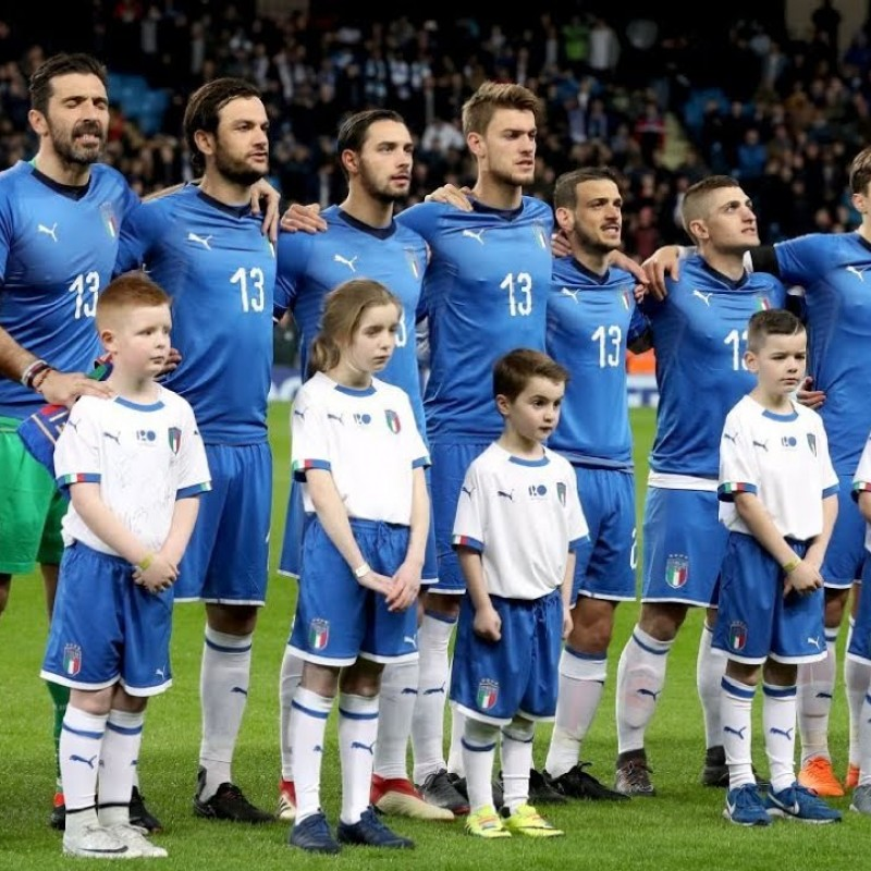 Italian National Football Team Worn Pre-Derby Shirt in Honor of Davide Astori