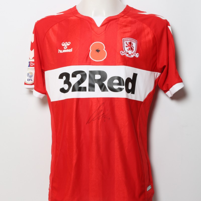 Paddy McNair's Middlesbrough Worn and Signed Home Poppy Shirt