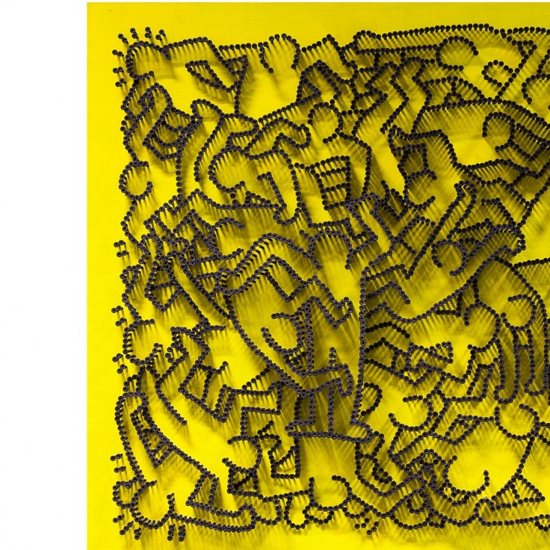 """Omaggio a Keith Haring II"" - acrylic on 3500 self-tapping screws - Drill Monkeys Art Duo - 81x81x8 cm"