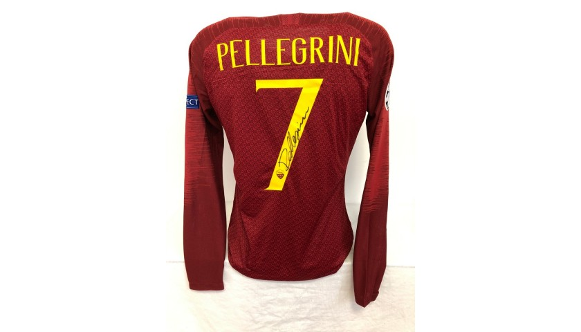 Pellegrini's Roma Match-Issued Signed Shirt, UCL 2018/19
