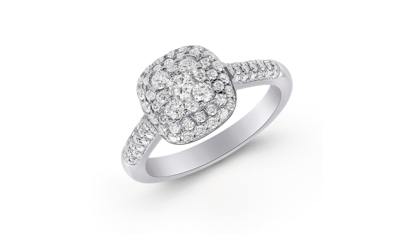 14KT White Gold Diamond Ring with  .86 Carats