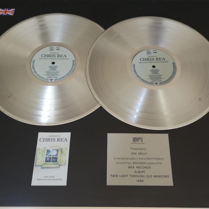 """Chris Rea BPI Platinum Award For """"New Light Through Old Windows"""""""