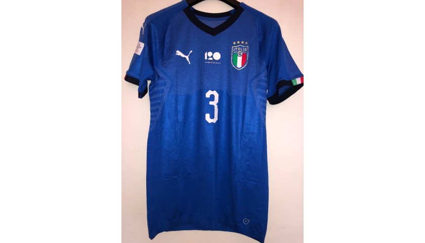 Chiellini's Match Signed Shirt, Italy-Ukraine - Special Genoa Patch