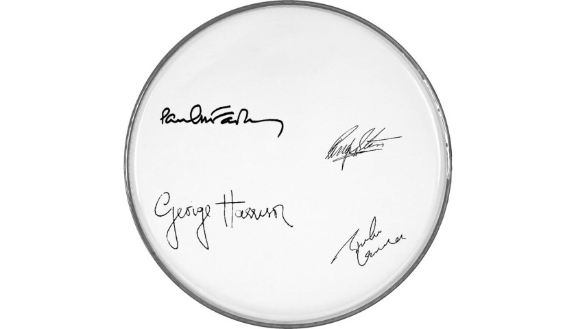 The Beatles Drumhead with Printed Signatures