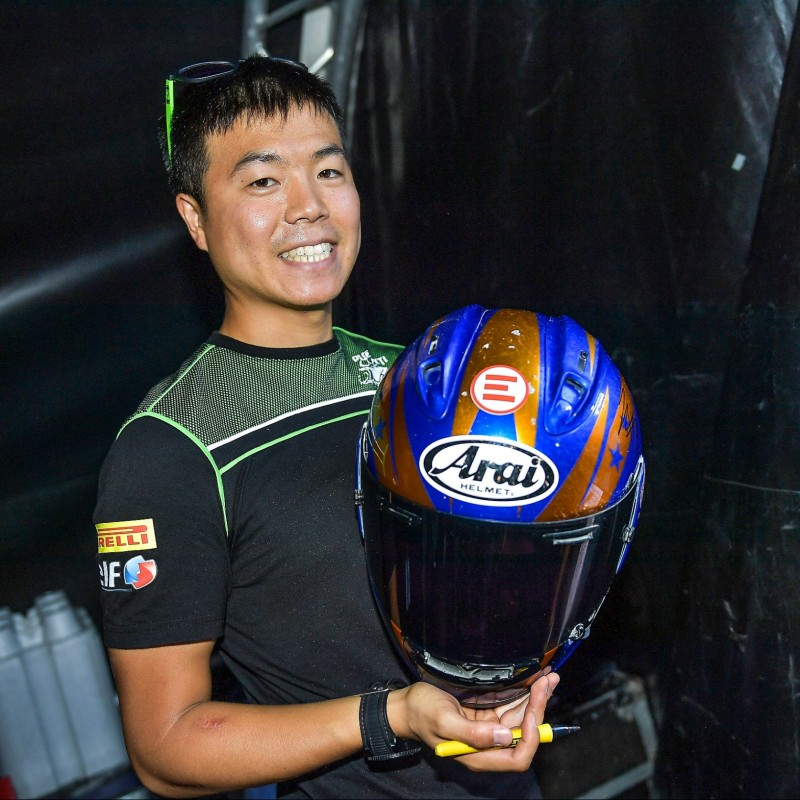 Racing Helmet Worn and Signed by Hikari Okubo at Portimao