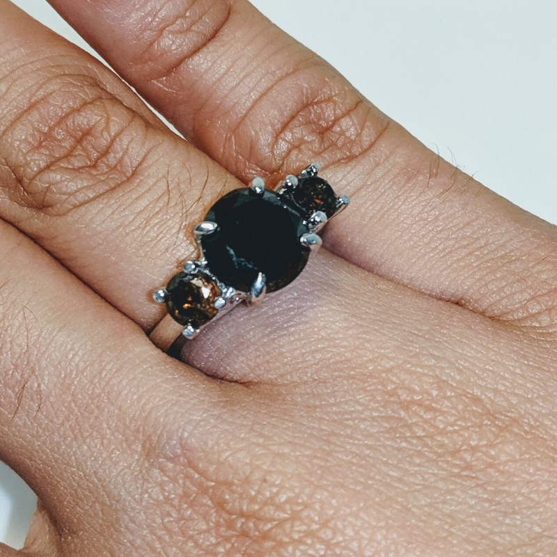 3-Stone Black and Brown Diamond Ring