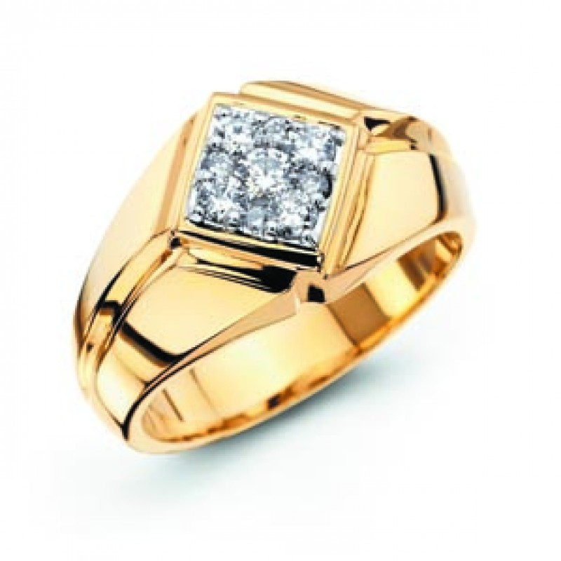14KT Men's Yellow Gold Diamond Ring