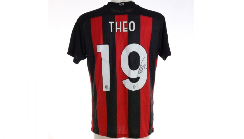 Theo Hernandez's Worn and Signed Shirt, Milan-Inter 2021