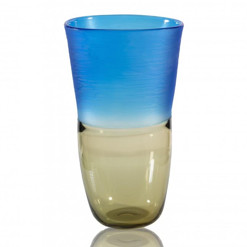 Murano Smoke and Aquamarine Limited Edition Blown Vase