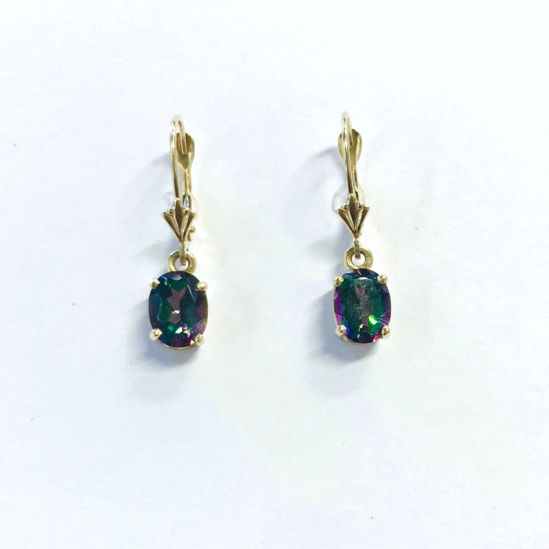 14KT Yellow Gold Mystic Topaz Dangle Earrings