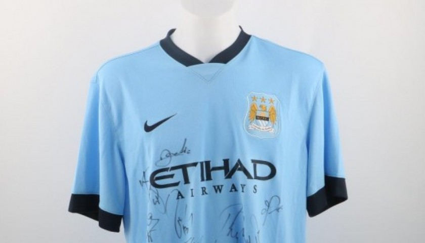 Official Manchester City 2014/2015 shirt, signed by the players