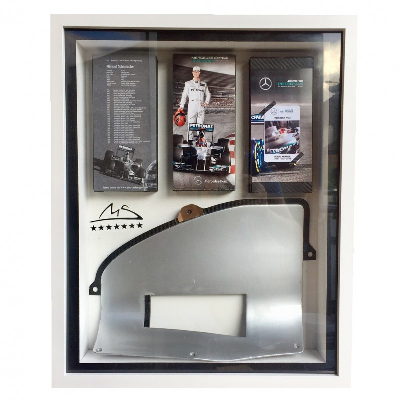 Mercedes Formula 1 Framed Radiator Piece from 2011 Mercedes W02 Driven by Schumacher and Rosberg
