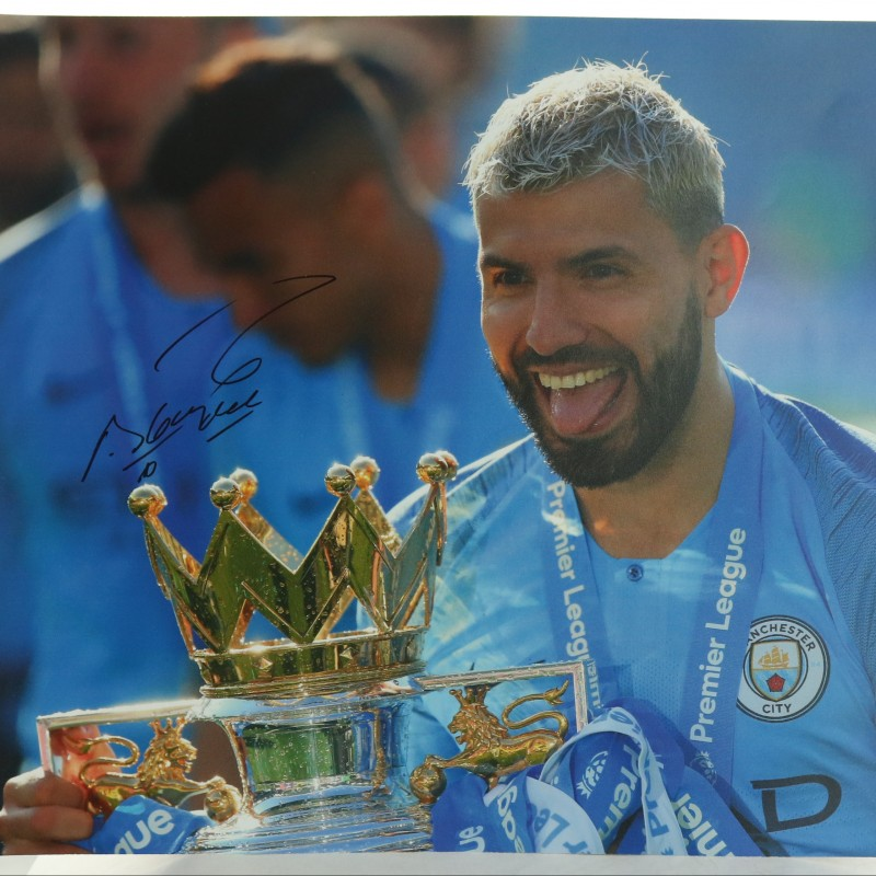 """Manchester City Legend Sergio Aguero celebrating at Brighton"" Signed Picture"