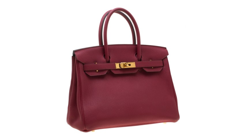 Hermes Ruby Togo Leather Gold Hardware Birkin 30 Bag