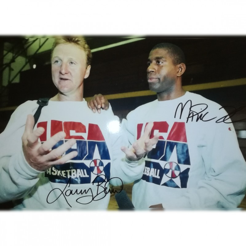 Photograph signed by Larry Bird and Magic Johnson
