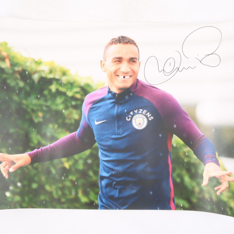 Danilo Manchester Citiy Signed and Graffitied Picture