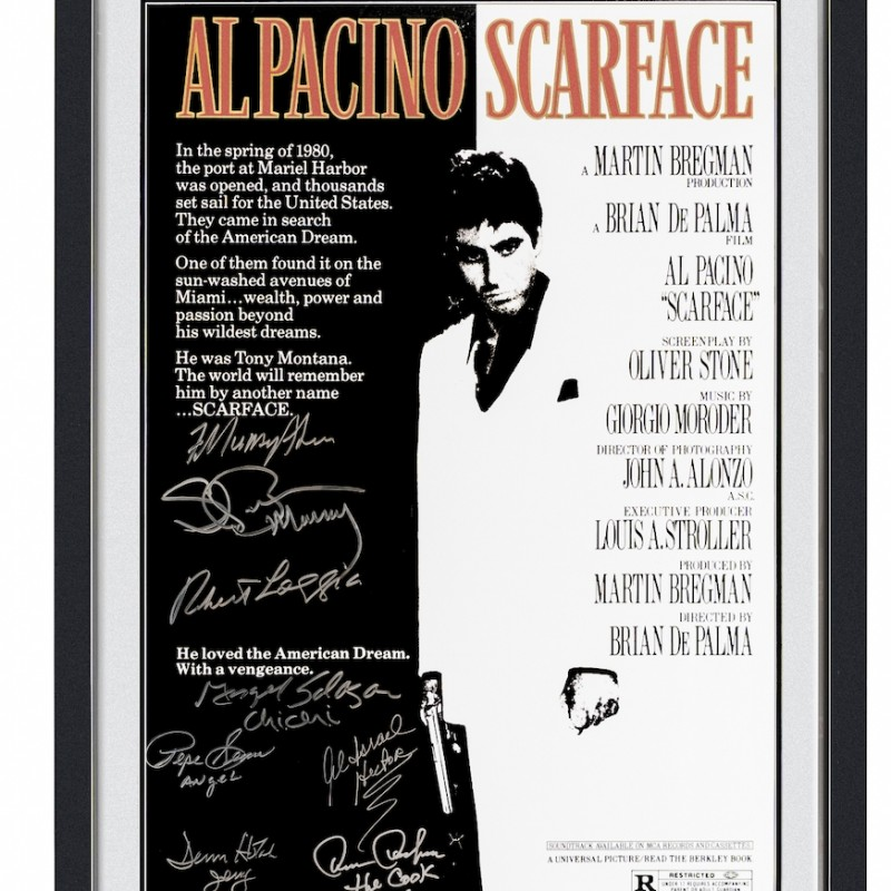 Scarface Poster Signed by Cast Framed