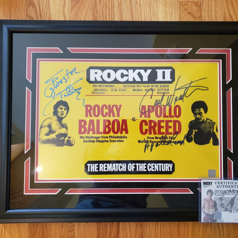 """Sylvester Stallone & Carl Weathers Hand Signed, Custom Framed """"Rocky"""" Poster"""