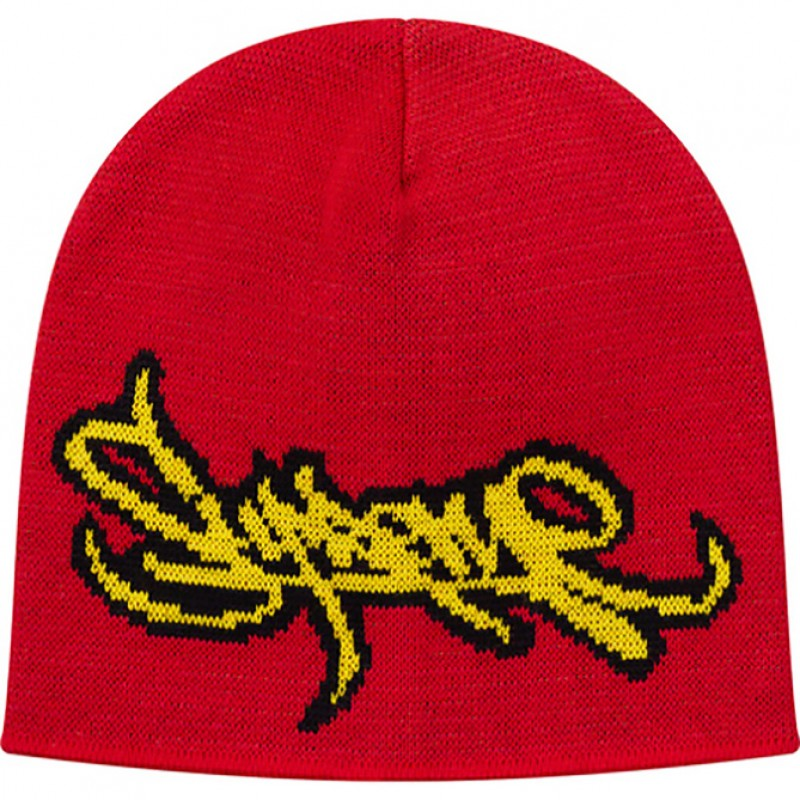 Red Supreme Tag Logo Beanie