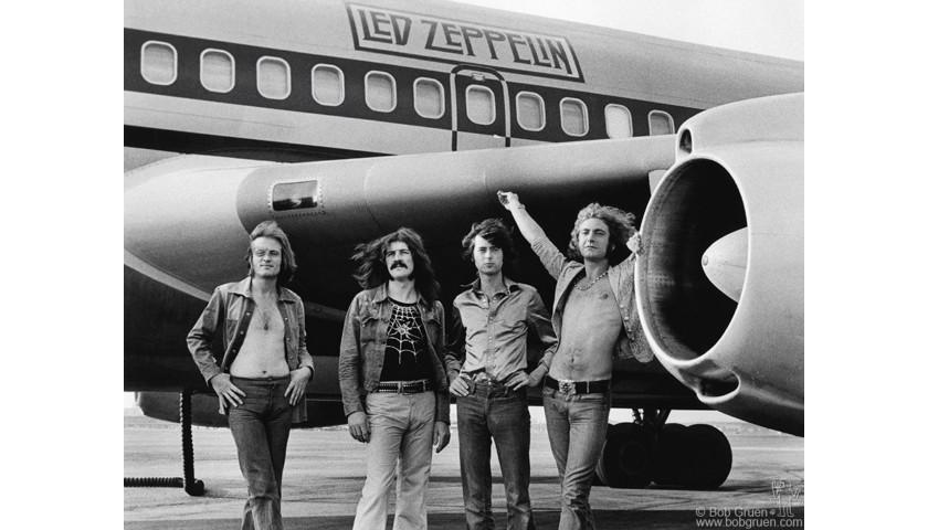 Signed Photograph Print of Led Zeppelin by Bob Gruen, 1973