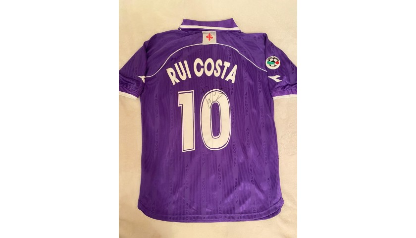 Rui Costa's Fiorentina Match Shirt, 2000/01 - Signed by the Squad