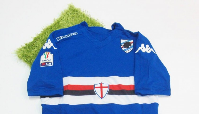 Silvestre Sampdoria issued/worn shirt, Tim Cup 2014/2015 - signed