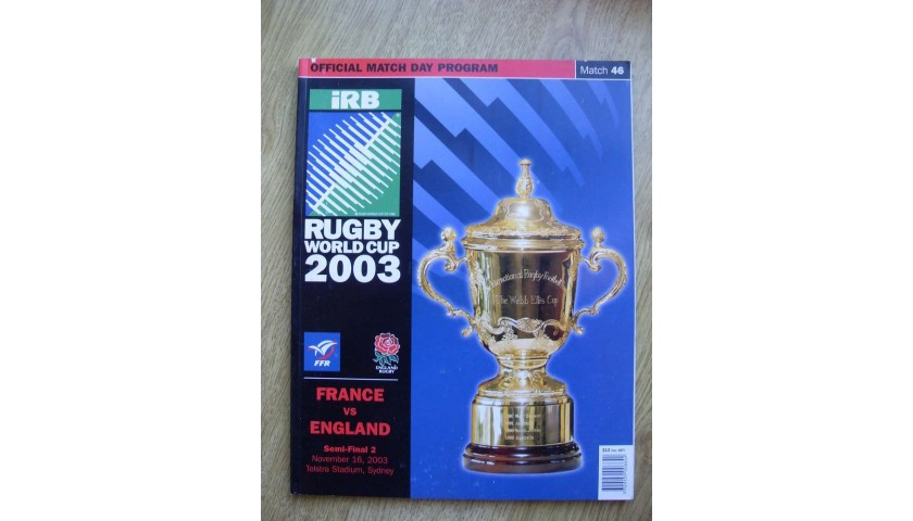 2003 Rugby World Cup Final Program Signed by Sir Clive Woodward