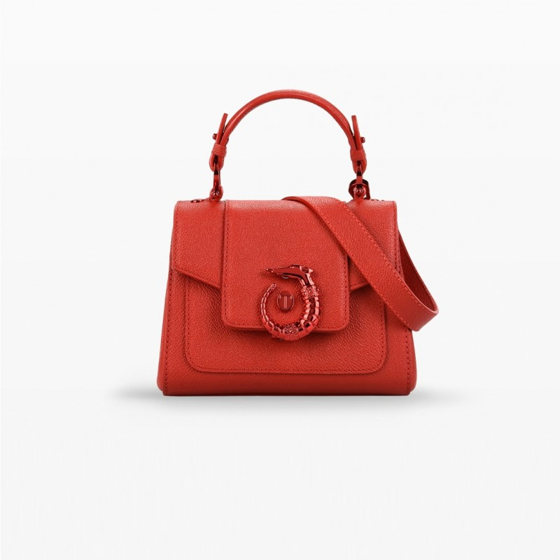 Trussardi Mini Lovy Bag in pelle crespo rossa