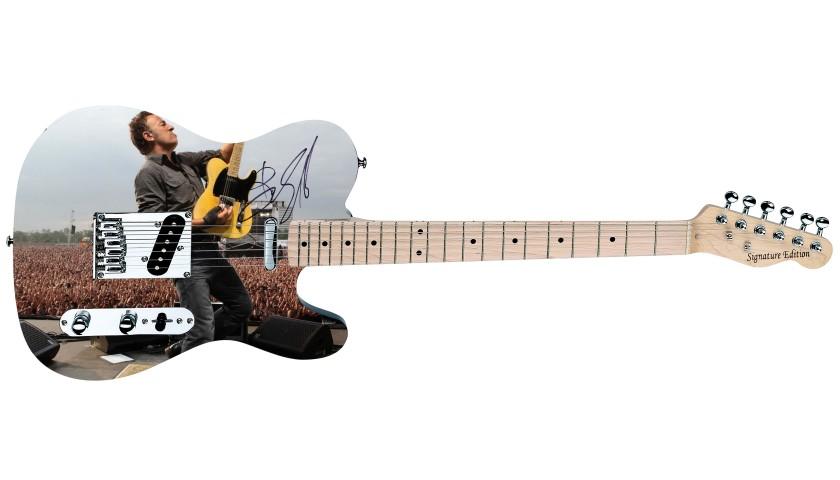 Bruce Springsteen Hand Signed Custom Graphics Guitar