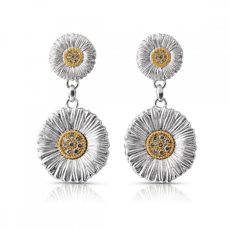 Orecchini Blossoms Daisy in argento e oro con diamanti brown
