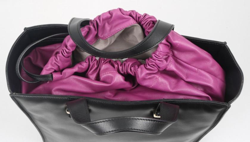 Black Leather Trussardi Bag with Contrasting Violet Sack