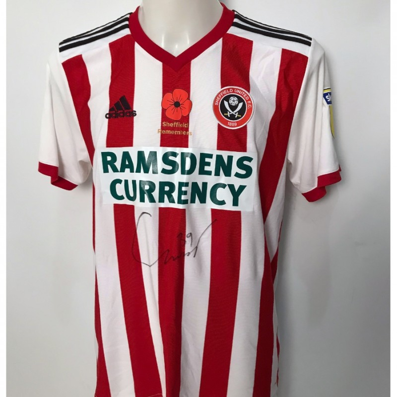 Connor Washington's Sheffield United Signed Poppy Home Shirt