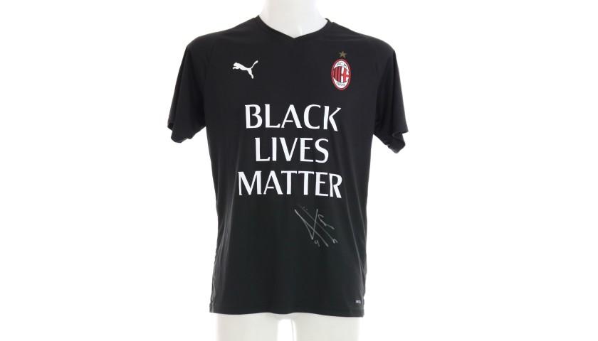 """""""Black Lives Matter"""" Training Shirt, Juventus-Milan - Signed by Bennacer"""