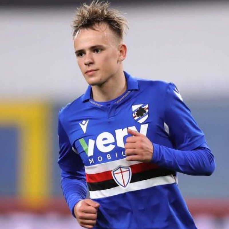 Damsgaard's Sampdoria Match Signed Shirt, 2020/21