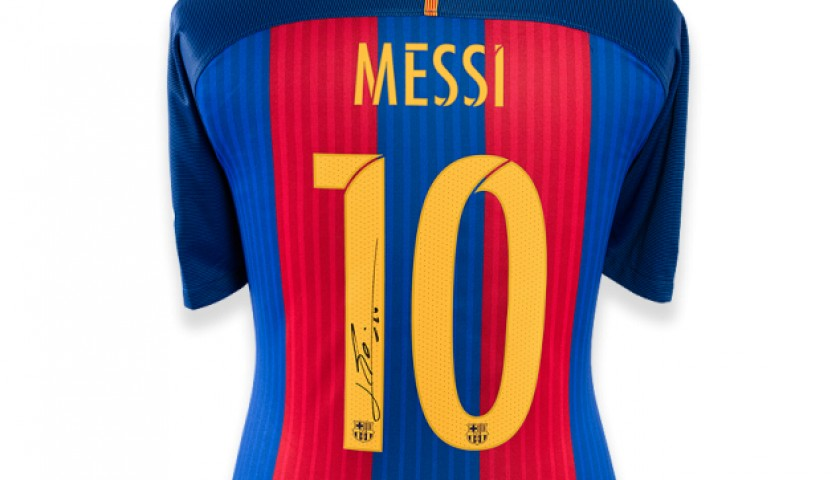6d69ad451a1 Lionel Messi Back Signed Barcelona 2016-17 Home Shirt - CharityStars