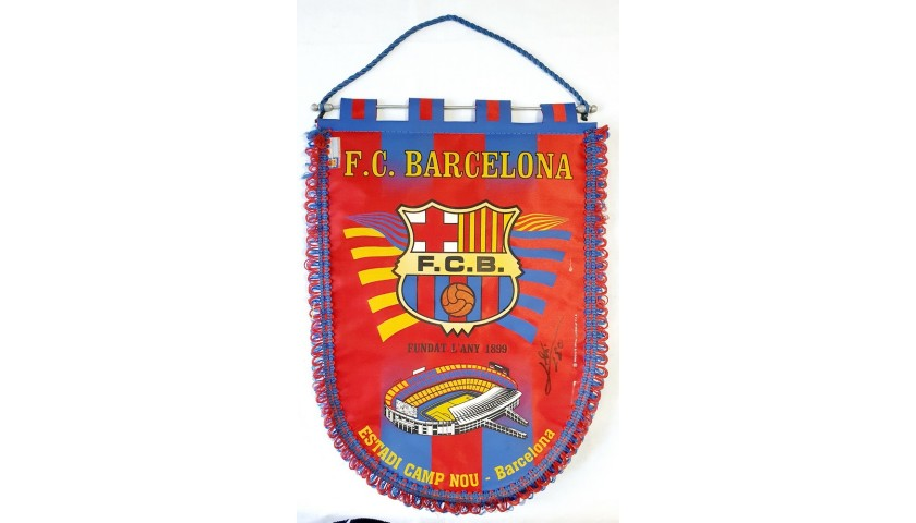 Barcelona Pennant - Signed by Messi