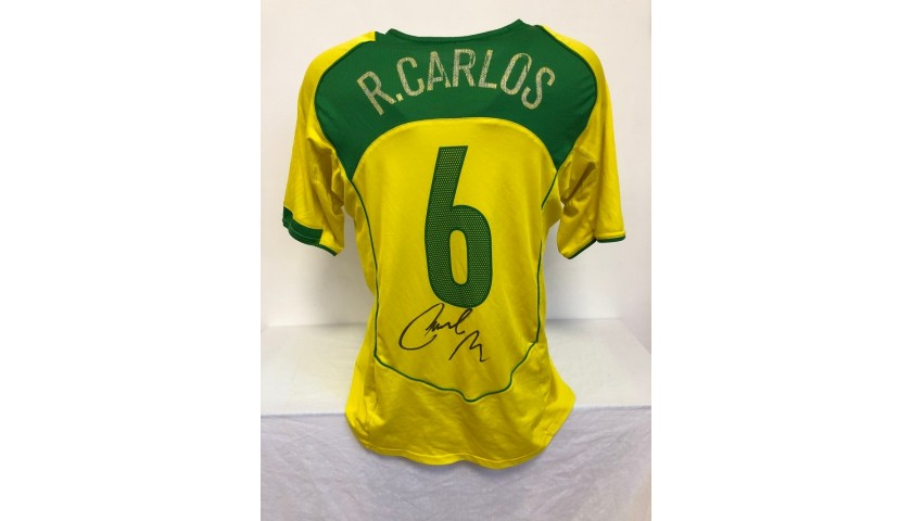 Roberto Carlos' Official Brazil Signed Shirt, 2004