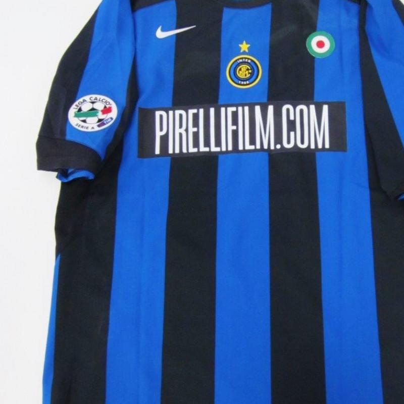 Figo match issued/worn shirt, Inter special sponsor, Serie A 2005/2006