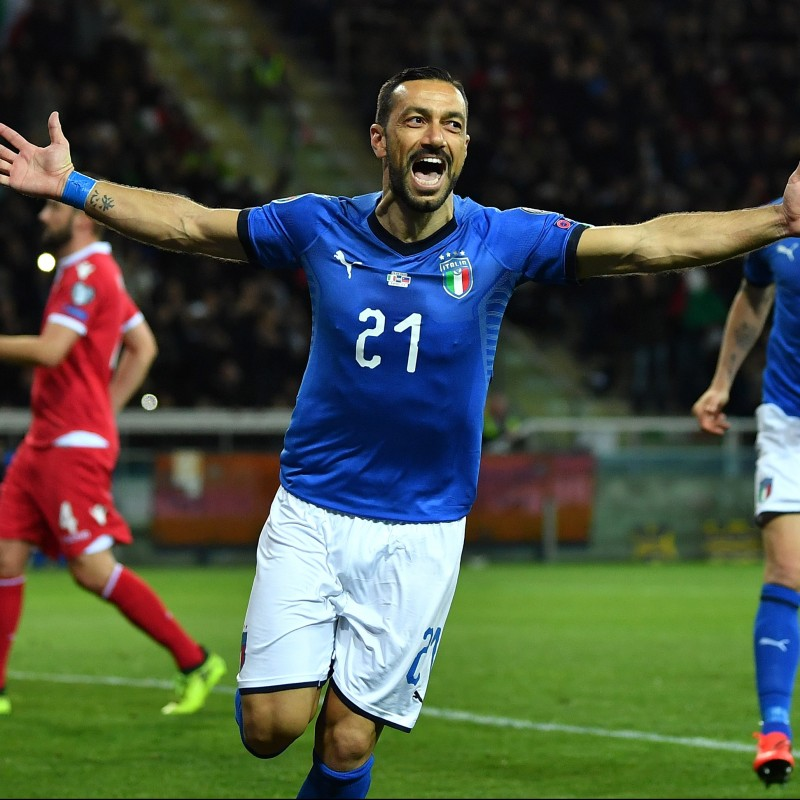 Quagliarella's Match-Issue/Worn Shirt, Italy-Liechtenstein 2019