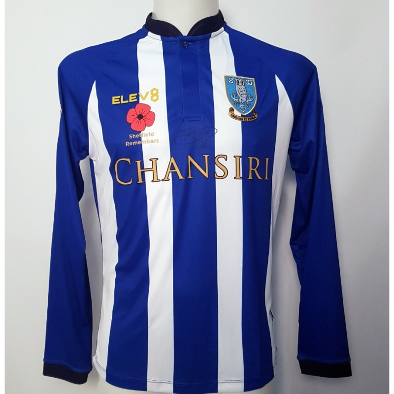Barry Bannan's Sheffield Wednesday Worn and Signed Poppy Home Shirt (Long Sleeve)
