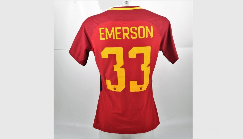 Emerson's Bench-Worn Roma-Cagliari Shirt, Special Sponsor Telethon